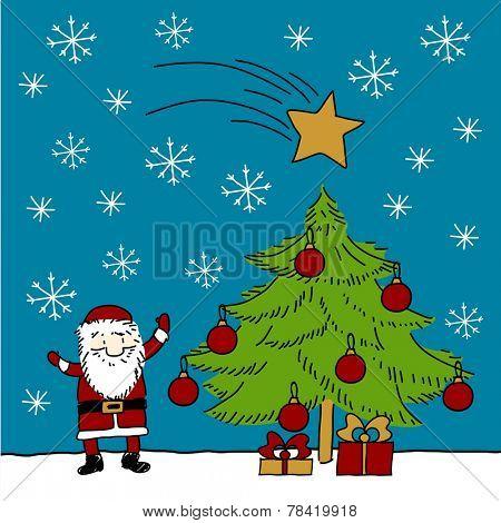 Child's drawing of Santa Claus and Christmas tree under a snowfall