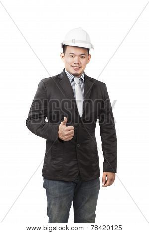 Young Asian Engineering Man Standing By Wearing Western Suit And White Safety Helmet Over Head Sign
