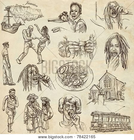 Jamaica Travel - Full Sized Hand Drawn Pack On Paper