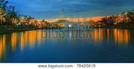 Dusky Scene Of Suan Luang King Rama Ix Public Park Important Of Resting Area In Heart Of Bangkok