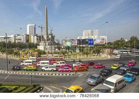 BANGKOK, THAILAND - DEC 17, 2014: Rush hour in city centre. Although Bangkok canals historically served as a major mode of transport, they have long since been surpassed in importance by land traffic.