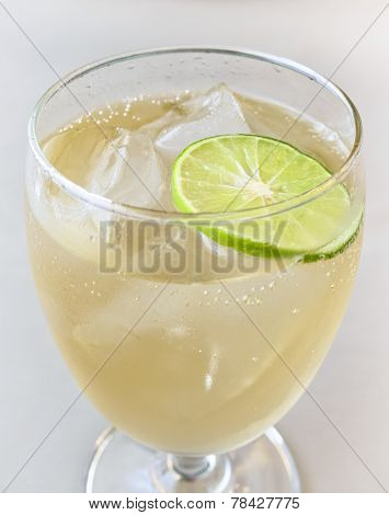 Glass Of Refreshing Cold Ginger Ale with Lemon