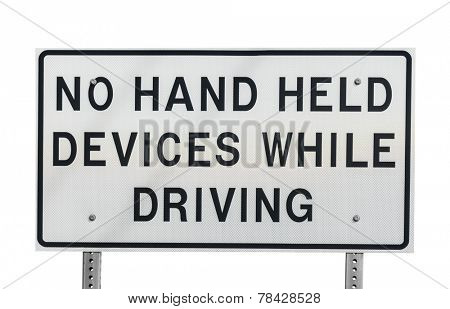 No hand held devices while driving sign isolated with clipping path.
