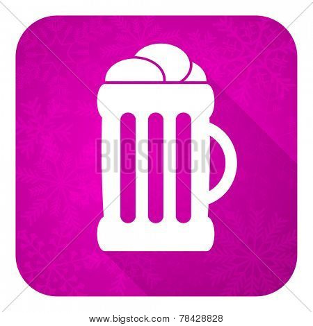 beer violet flat icon, christmas button, mug sign