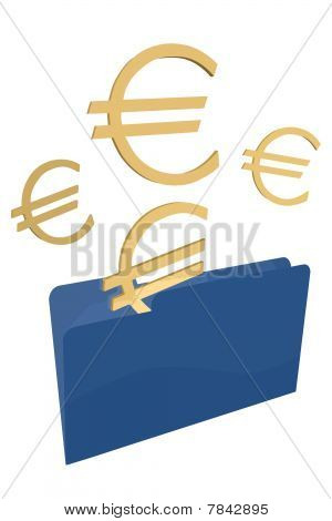 Blue File Foldr with Euros