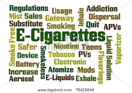 E-Cigarettes word cloud on white background.