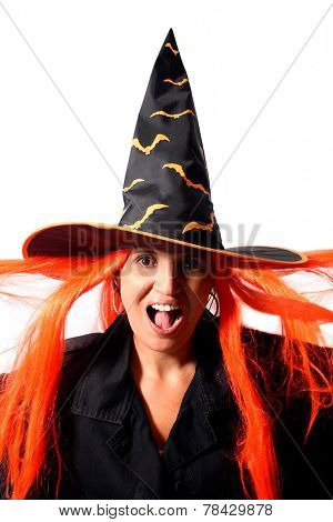 Witch scream isolated on white background