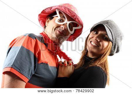 Comic couple isolated on white background