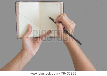 Man Holding Up A Small Blank Opened Diary