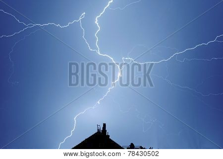 Lightning strikes down