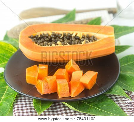 Slice Papaya Fruit On Green Leaf
