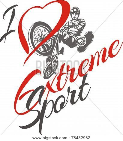 I love extreme sport.  BMX rider - vector illustration.