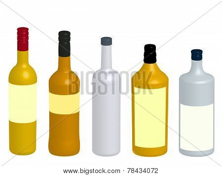 Different Kinds Of Spirits Bottles 3D
