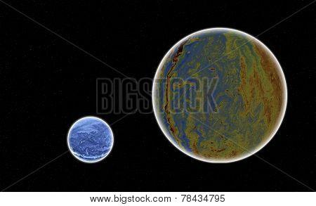 Blue Planet In Galaxy