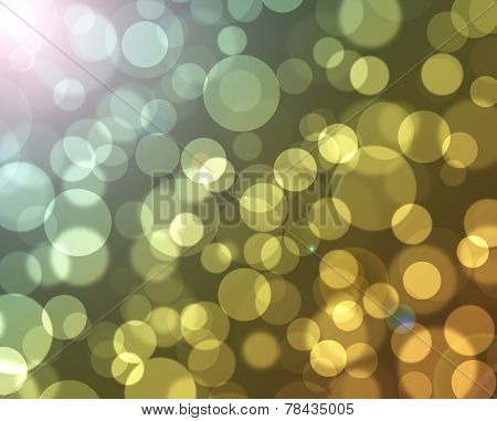 Golden Bokeh With Flare Background