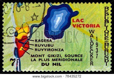 Vintage  Postage Stamp. Animals Burundi, Lac Victoria.