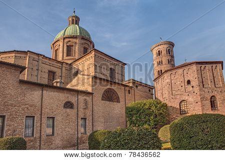 The Courtyard Of The Cathedral And Neonian Baptistery In Ravenna, Italy