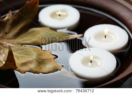 Tree white candles floating with leaf on water in bowl