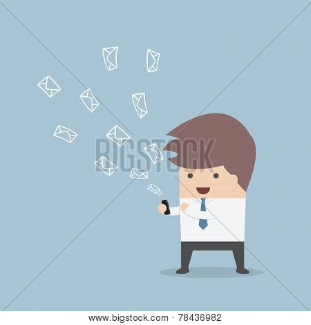 Businessman Sending Messages By Smartphone