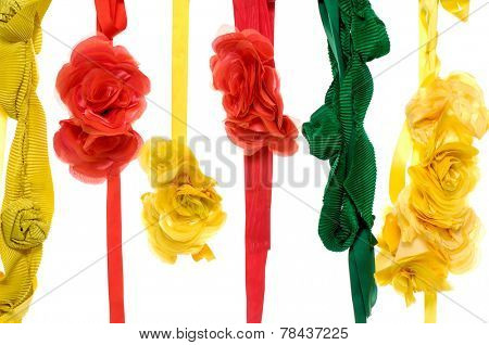 Colorful flower made of silk and satin dangle