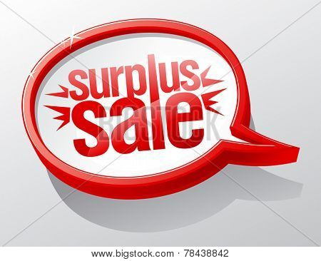 Surplus sale red speech bubble symbol.