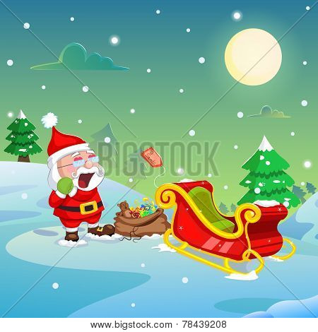 Santa Claus with Christmas gift on sledge