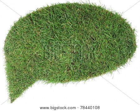 Grass Speech Bubble Isolated on White Background