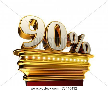 Ninety percent figure on a golden platform with brilliant lights over white background