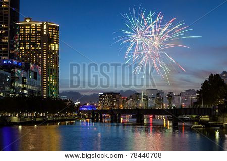 Melbourne Skyline with Fireworks at Dusk