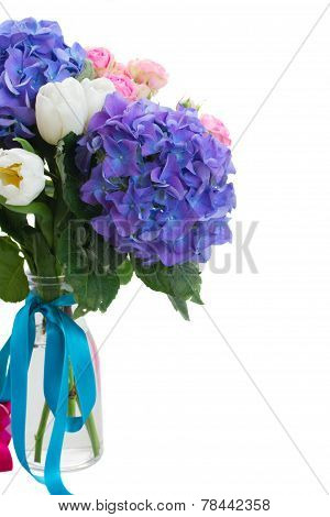 posy   of white tulips, pink roses and blue hortensia flowers