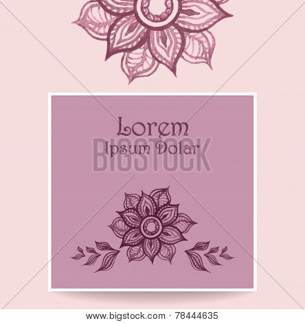 Template with water color abstract flowers in pink lilac