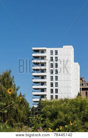 White Condo Tower With Sunflowers In Foreground