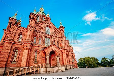 Uspenski Cathedral, Helsinki At Summer Sunny Day. Red Church In Finnish Capital, Finland