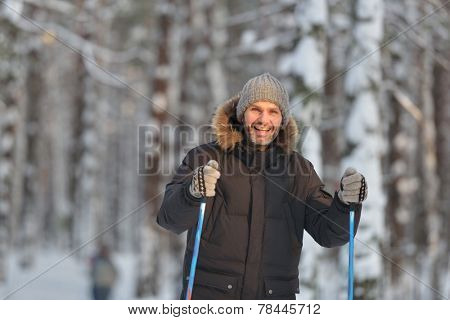 Mature man cross-country skiing