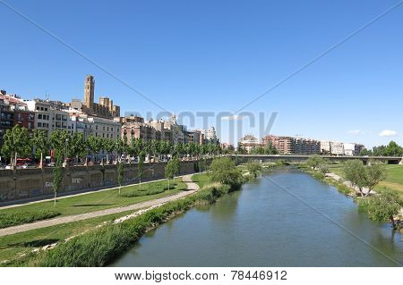 Panorama Of Lleida. Catalonia, Spain.