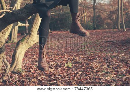 Legs Of Person Dangling From Tree