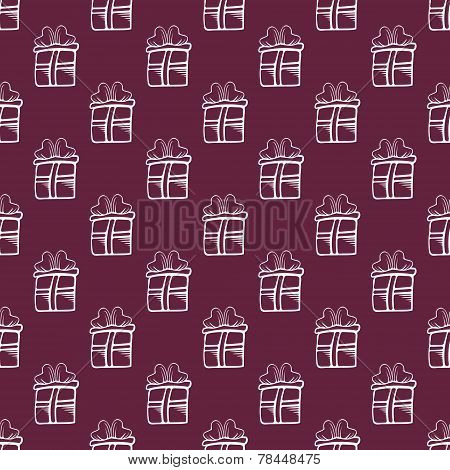 Seamless vector gift Pattern on burgundy color background