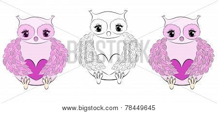 Cute pink owl with heart