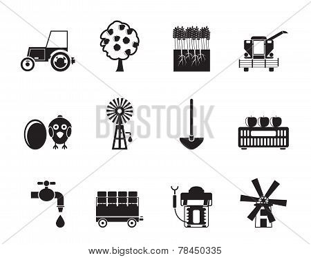 Silhouette farming industry and farming tools icons