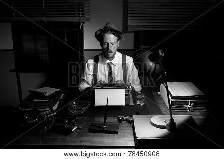 Vintage Reporter Working Late At Night