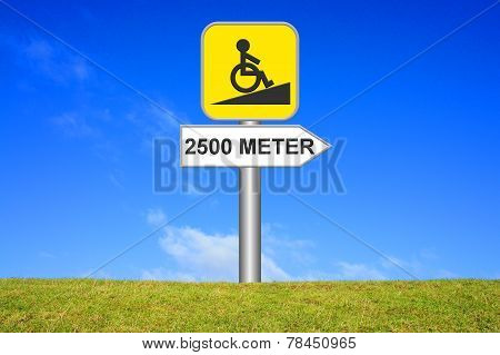 Yellow Sign Wheelchair ramp