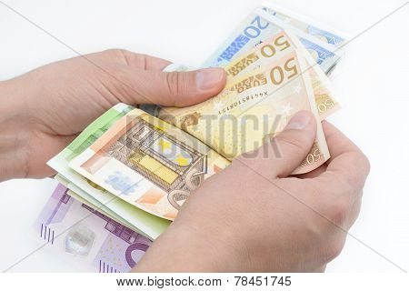 Hands Counting Euro Banknotes