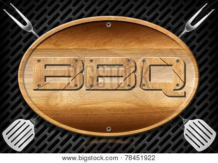 Bbq Signboard With Kitchen Utensils