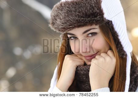 Beauty Woman Face Portrait Warmly Clothed In Winter