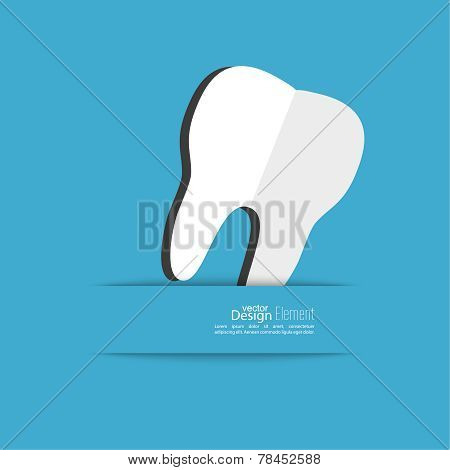 Human tooth with a ribbon.