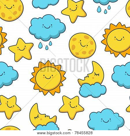Funny Sketching Star, Sun, Cloud, Moon. Vector Seamless Cartoon Pattern. Day Background