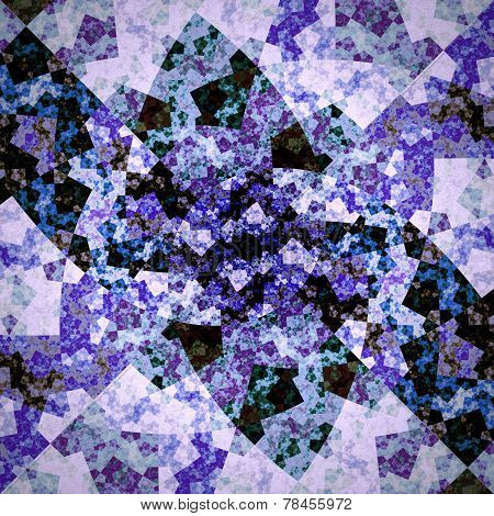 Abstract Symmetrical Violet Hexagon Fractal  Mosaic