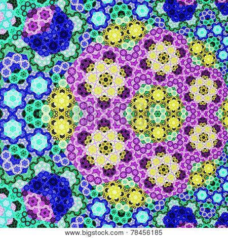 Abstract Symmetrical Blue Hexagon Fractal  Mosaic