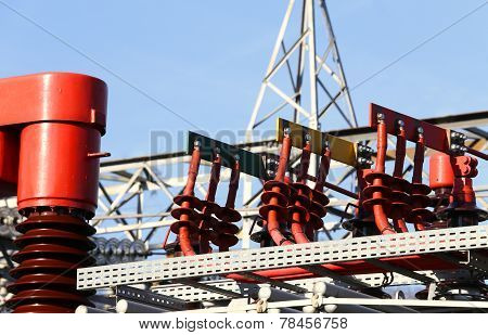 Electrical Copper Terminals Of A Power Plant To Produce Electricity