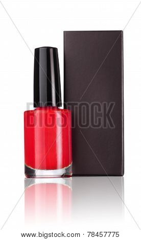 Red nail polish with black box